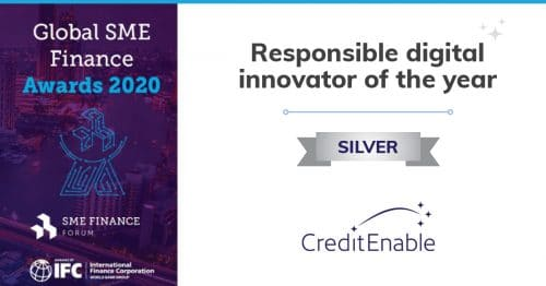 CreditEnable has received the Silver award for Responsible Digital Innovator of the Year from the International Finance Corporation (IFC) and SME Finance Forum!